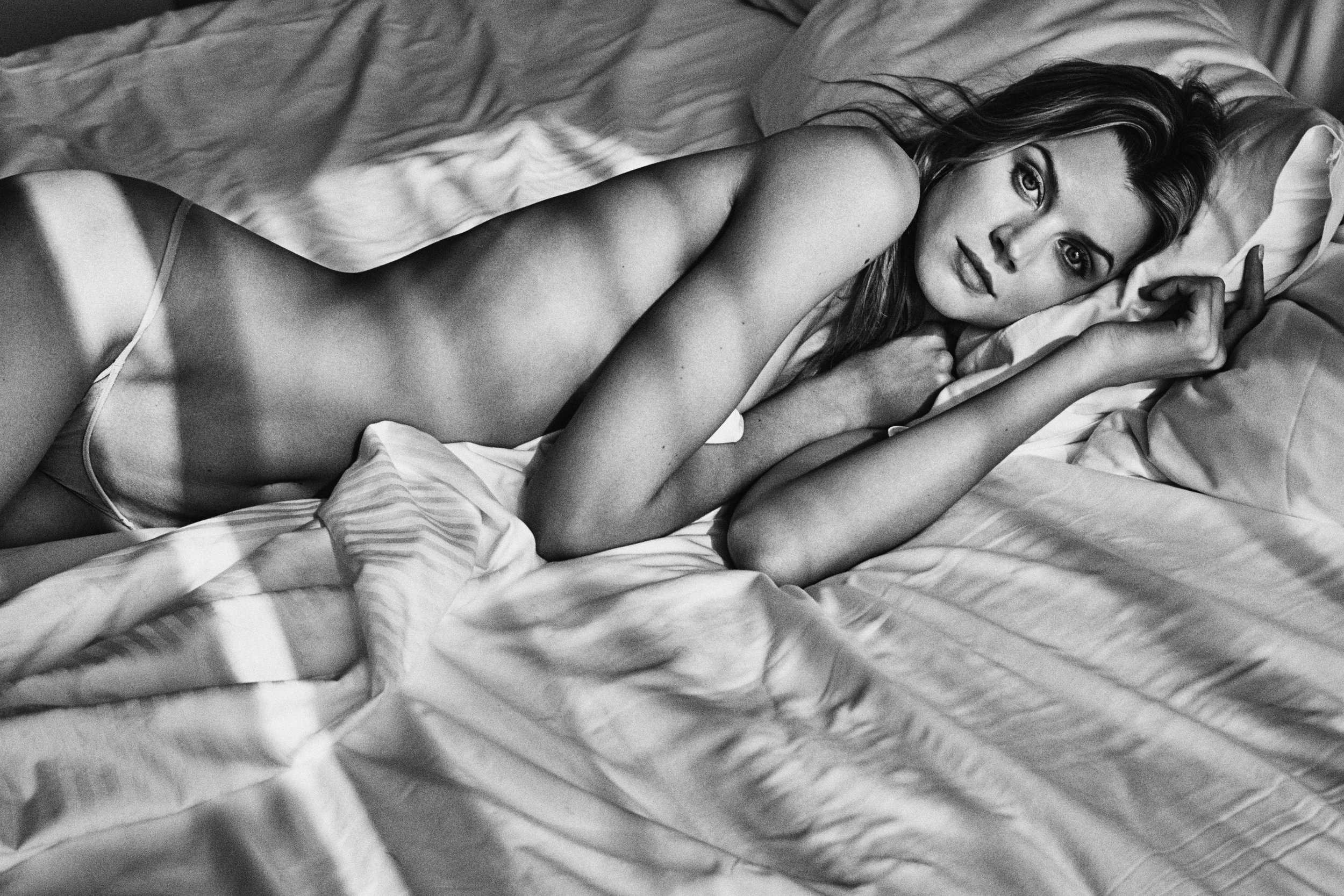 Jayne Moore with WIll Vendramini hotel series nude morning wake up morning light bed head
