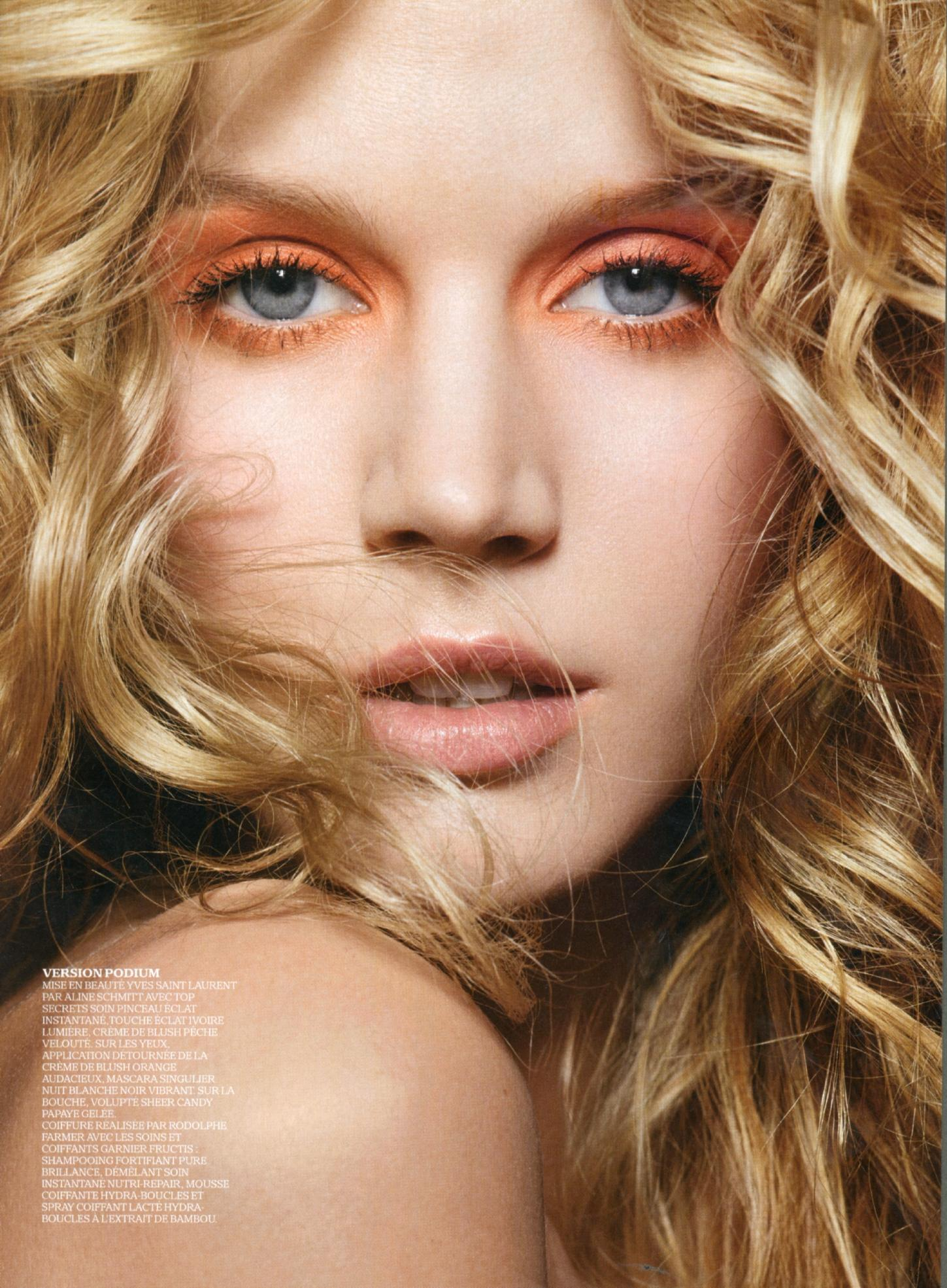 Votre Beaute Story with Jayne Moore British bombshell with Frederic Farre orange eyeshadow on blue eyes bold summer make up looks