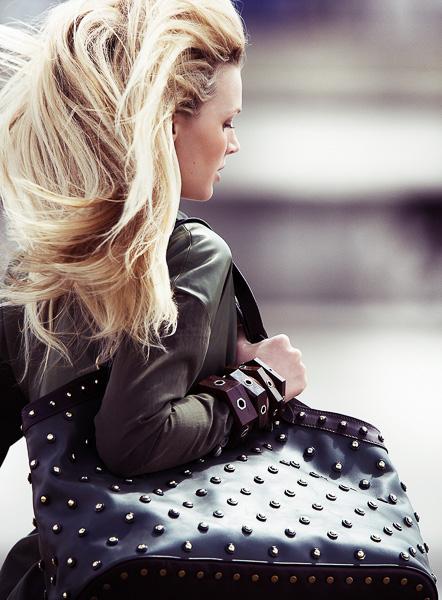 A Mode Magazine Paris Model Jayne Moore writer Jayne moore amazing hair channel suit running through paris celine bag studded bag hair whip
