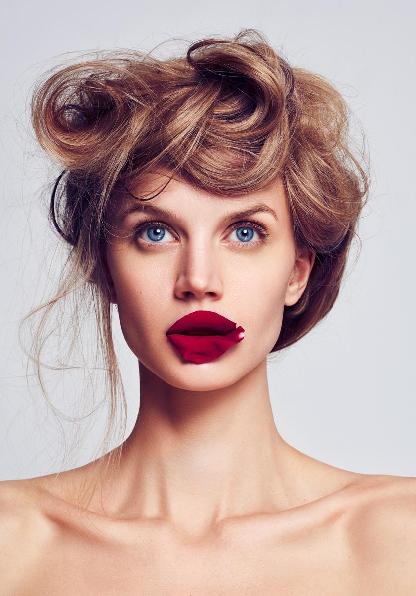 Jayne Moore IMG british model Gary Lupton and moiz alladina beauty shoot for Lucys magazine at dune studio red rose lipped girl hair story