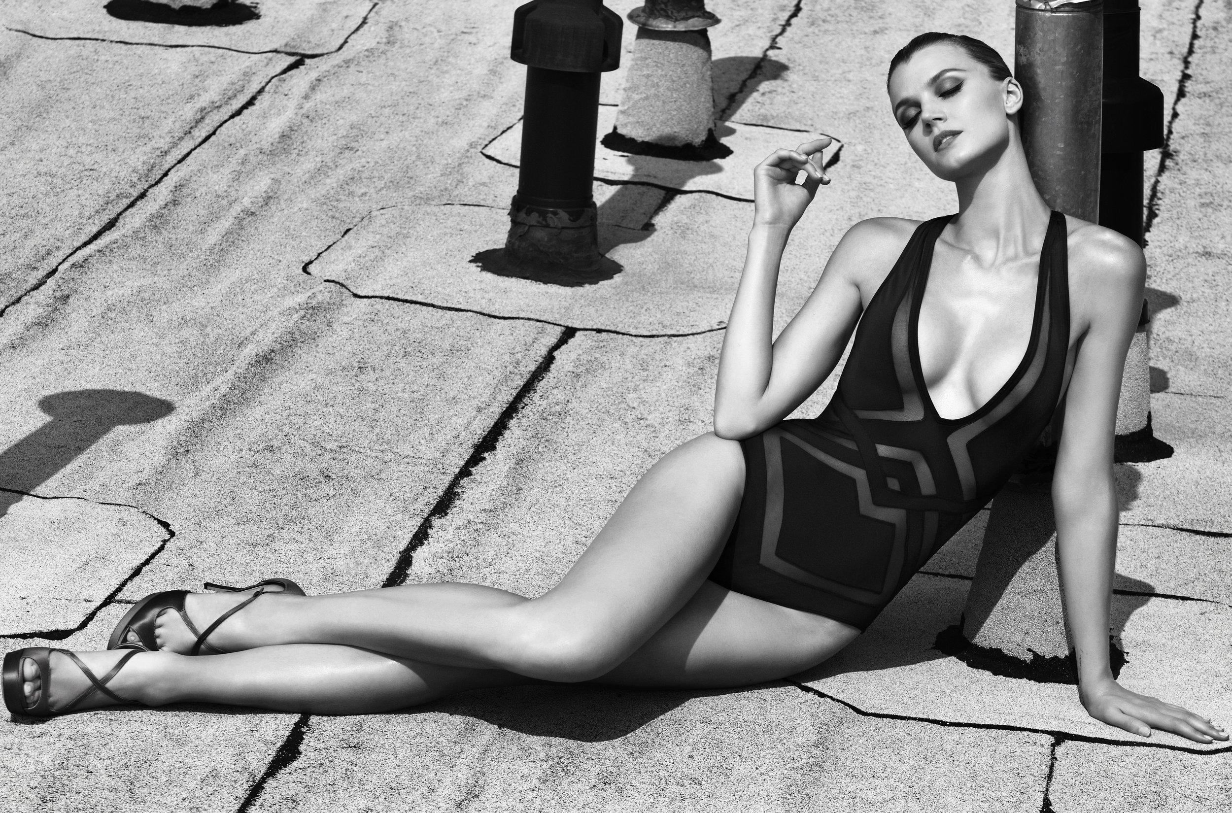 Jayne Moore English model for Style Caster Magazine swimwear bodysuit bathing suit sexy one piece bathing suit new york city rooftop shoot Bruce Soyez-Bernard