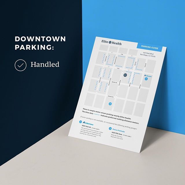 Feeling stressed about finding downtown parking? Stress no more! We made some handy little parking guides so you know exactly where to find parking near Elite Health. Pick one up at your next visit or we can email one to you beforehand!