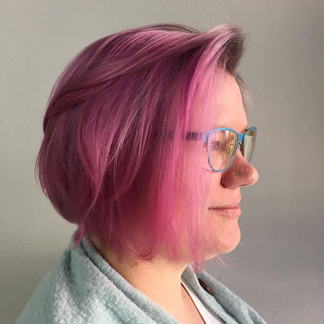 🦄 🤠  Cut & Color by yours truly. . #nofilter #pdxstylist #pink #pinkhair #greyhair #mylittlepony . Last pic is the before.