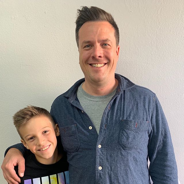 My fav father son haircut day with Aaron & Grey. I've been cutting this little guy's hair since he was 3! He's 9 now. Super cute. He's turning into a fine young man.