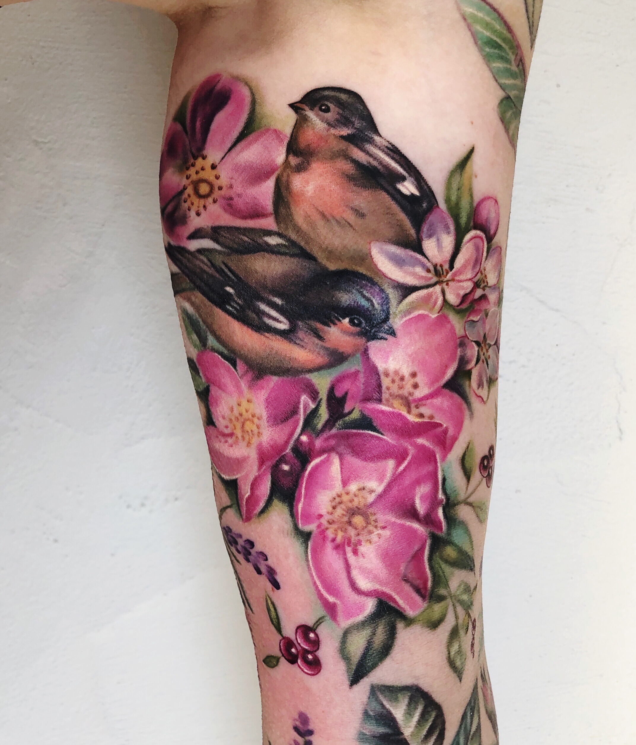 Floral Tattoo + Birds