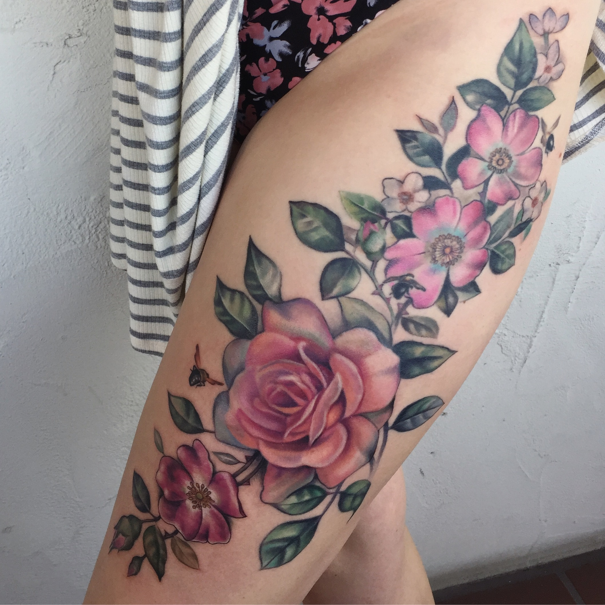 Floral Thigh Tattoo
