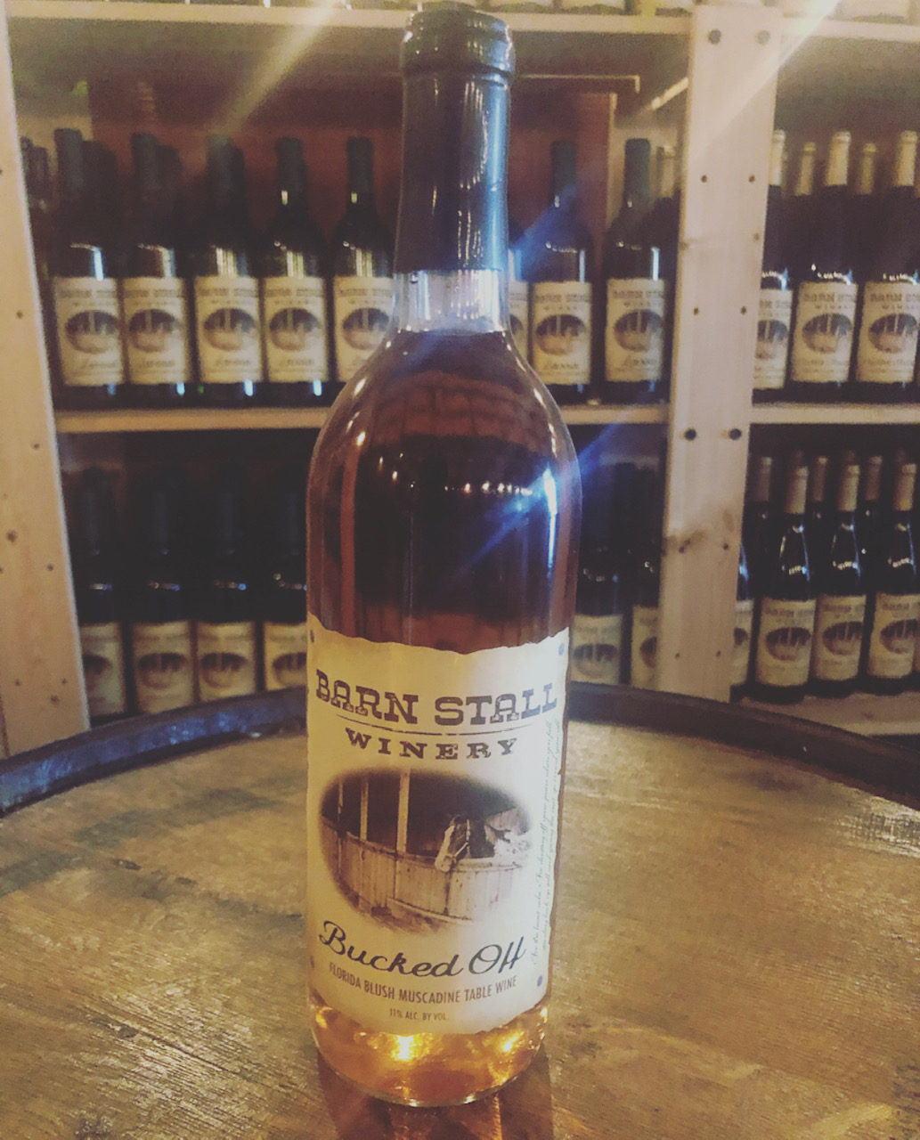 Bucked Off - Florida Blush Muscadine Table Wine. For the heart ache. For dusting off your jeans when you fall. Standing back up tall and giving the next round a go. 11% alc