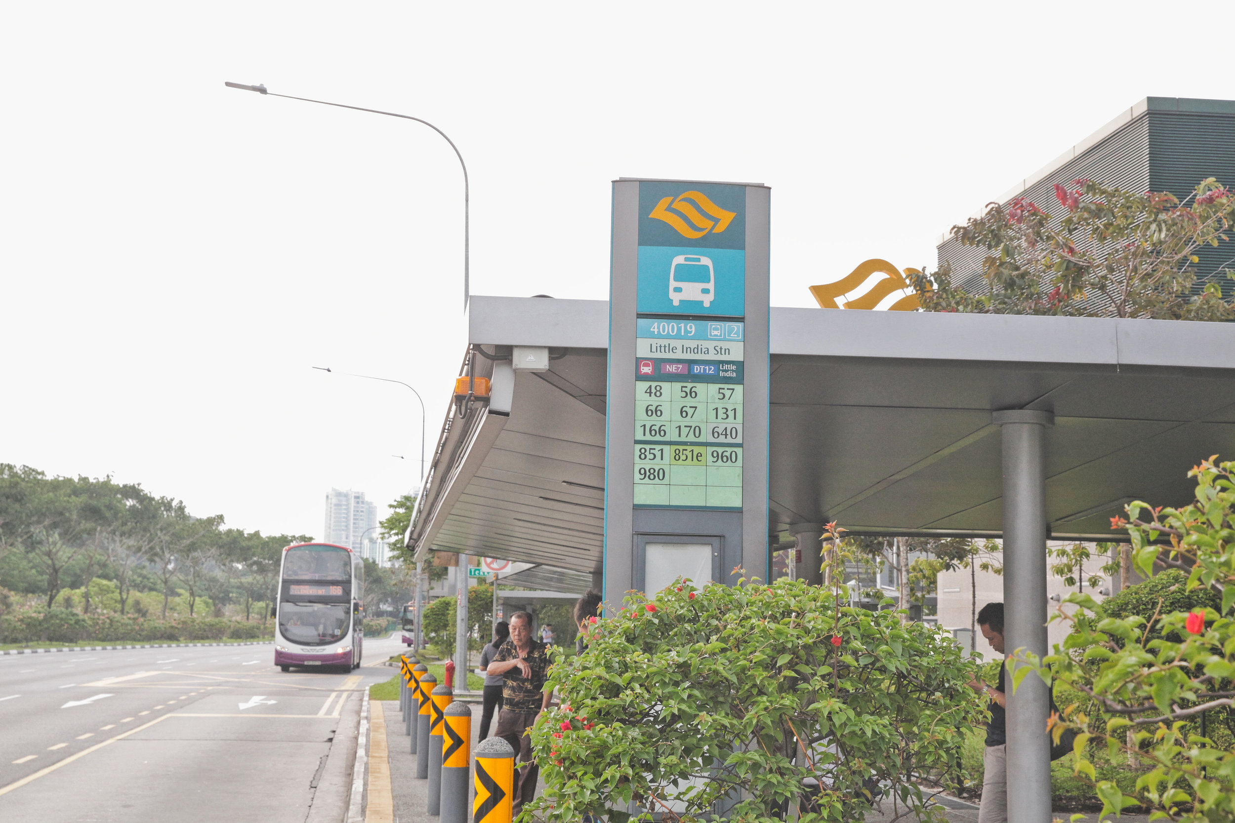 """1. ALIGHT  AT BUS STOP NO: 40019  """"LITTLE INDIA STN""""   BUSES: 48, 56, 57, 66, 67, 131, 166, 170, 640, 851, 851E, 960, 980"""
