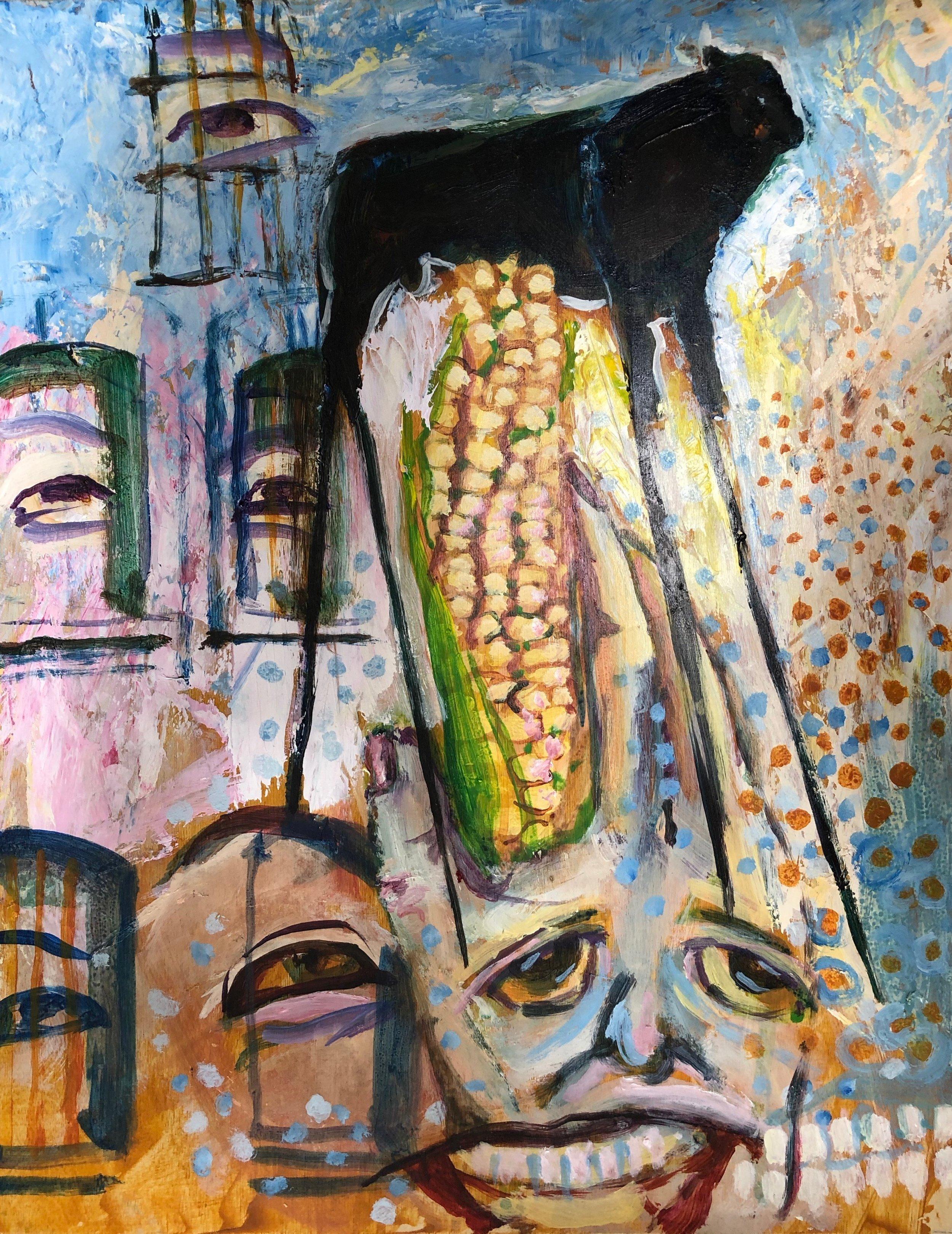 Bull on Stilts   Oil  11x14