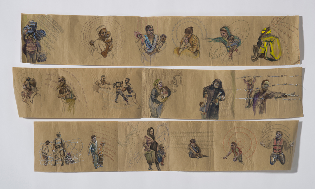 Untethered   7 x 3 feet  Butcher paper, thread, watercolor  2016  In 2018 alone, 65.8 million people were forcibly displaced from their homes due to climate-related disasters, conflicts, persecution and violence. Although a small gesture, this visual journal is an homage to our brethren who have become refugees and asylum seekers.