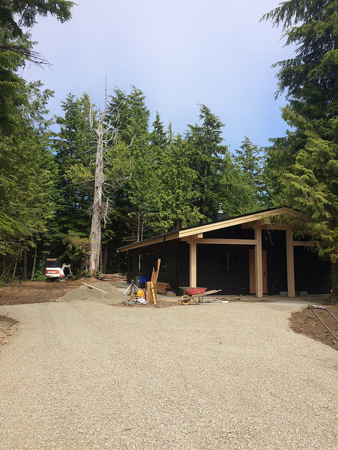 Exterior and landscaping is a work in progress. We love how our timber frame home fits in with its natural environment and can't wait to get the grounds really lush again.