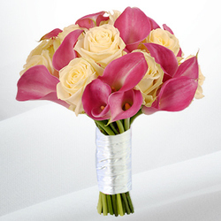 Mini Calla & Rose Supreme Wedding Bouquet $120