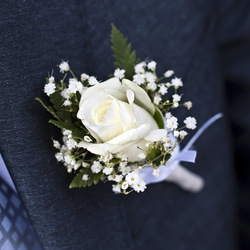 Classic Rose Boutonniere with baby's breath: $15