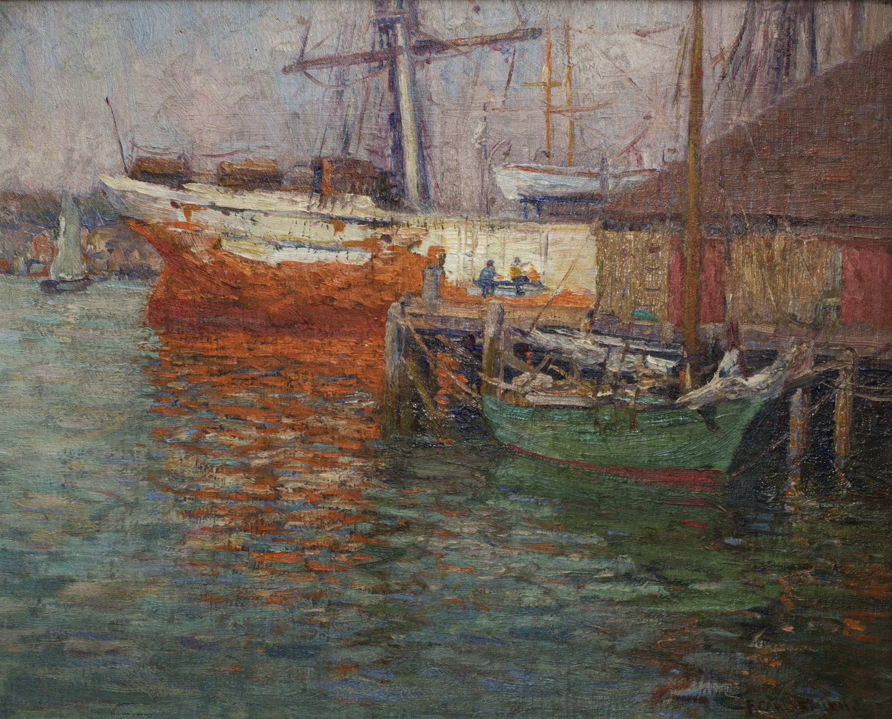 F. Carl Smith,  The Spanish Salt Ship, Gloucester, MA , oil on canvas. From The Art of Collecting: A Fundraising Exhibition, December 2018.