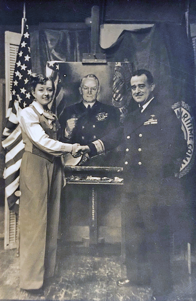 Martha Moore with Portrait of Admiral Emery Land
