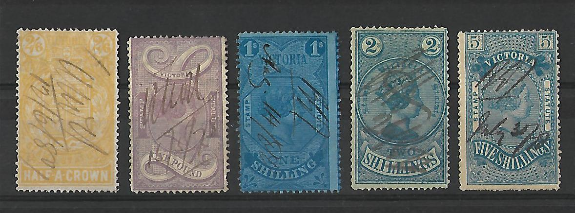 Victoria state revenue stamps from the late 1800's.
