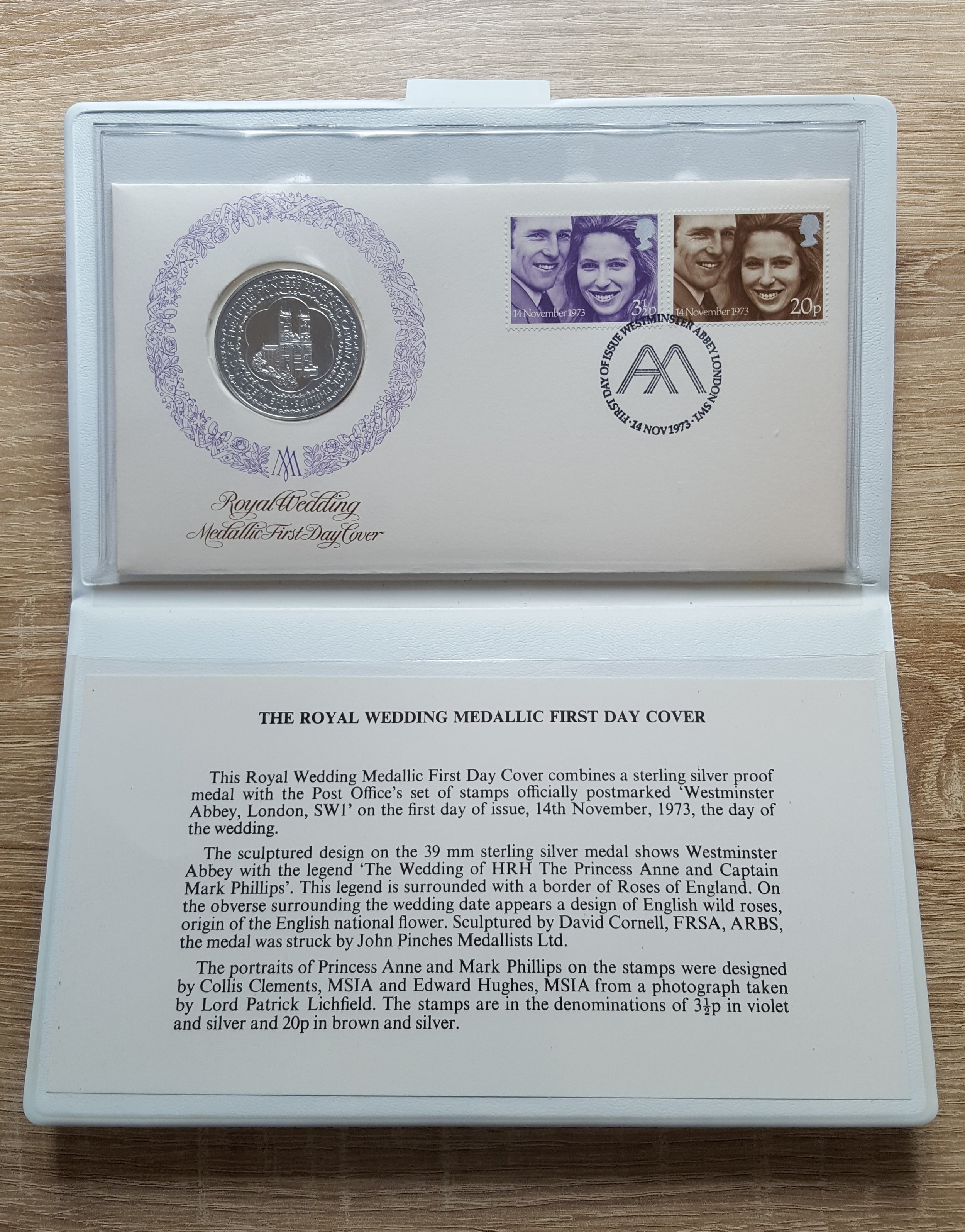 Royal Wedding 1973 Medallic (Sterling Silver Proof) First Day Cover.