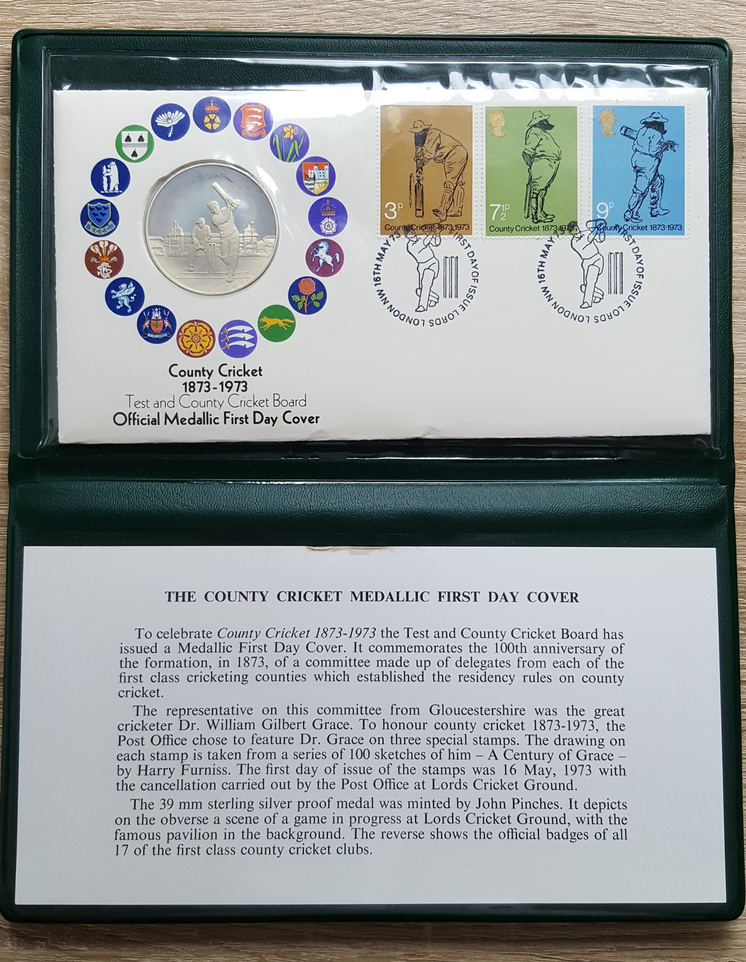 Cricket Board 1873 - 1973 Medallic (Sterling Silver Proof) First Day Cover.