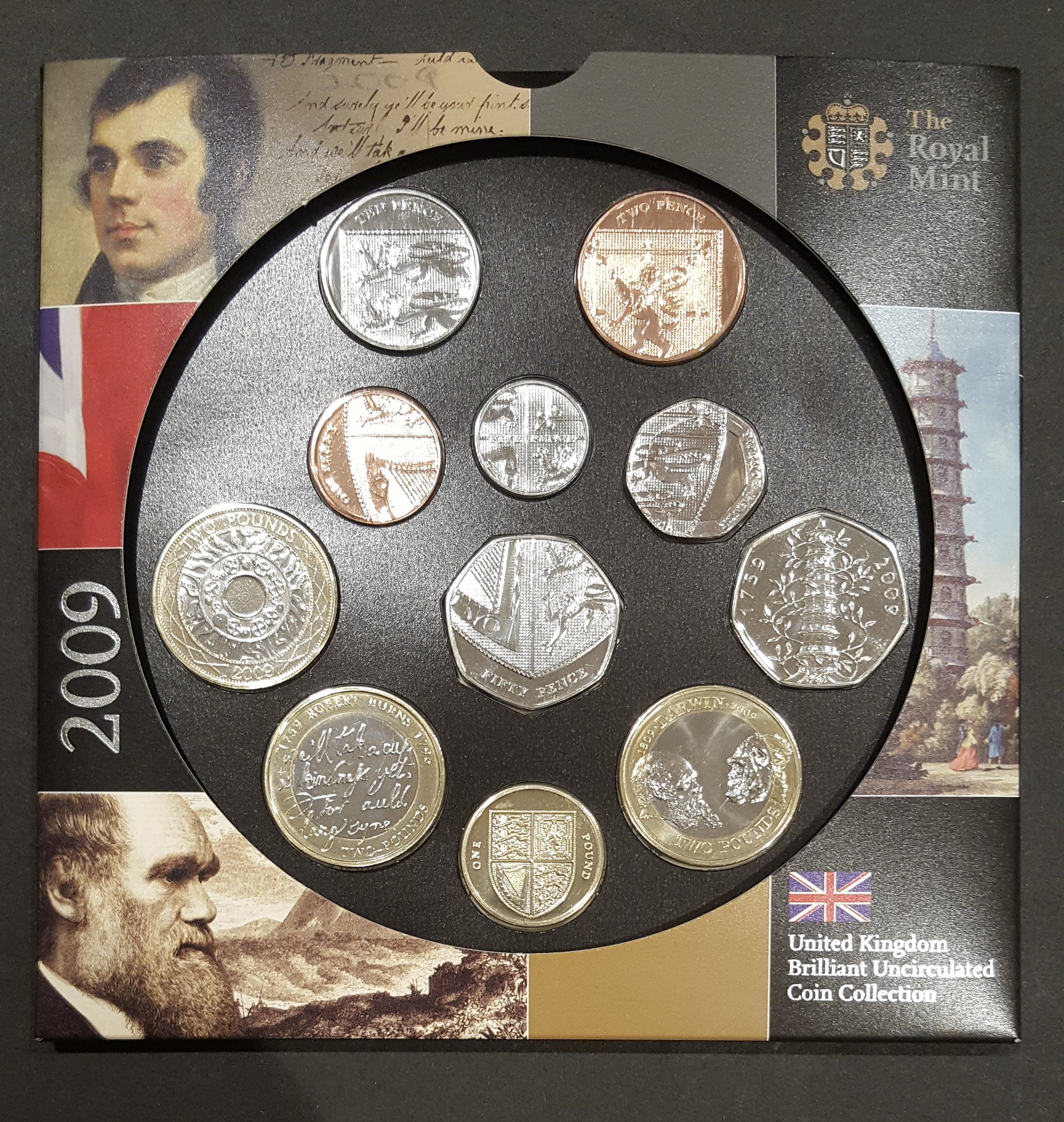 Royal Mint UK Brilliant Uncirculated Coin Set 2009 - Kew Gardens 50p.