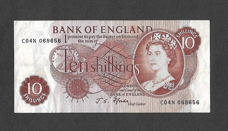 Queen Elizabeth II 10 Shilling Note J S Fforde Cashier.