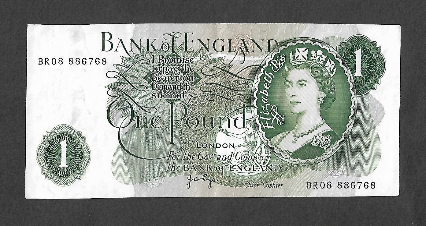 Queen Elizabeth II £1 Banknote Jo Page Chief Cashier.
