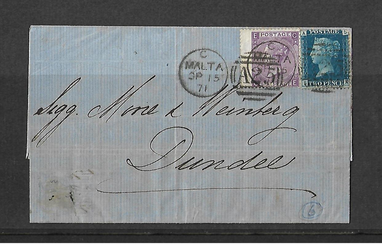 Cover Sent From Malta to Dundee 1871.