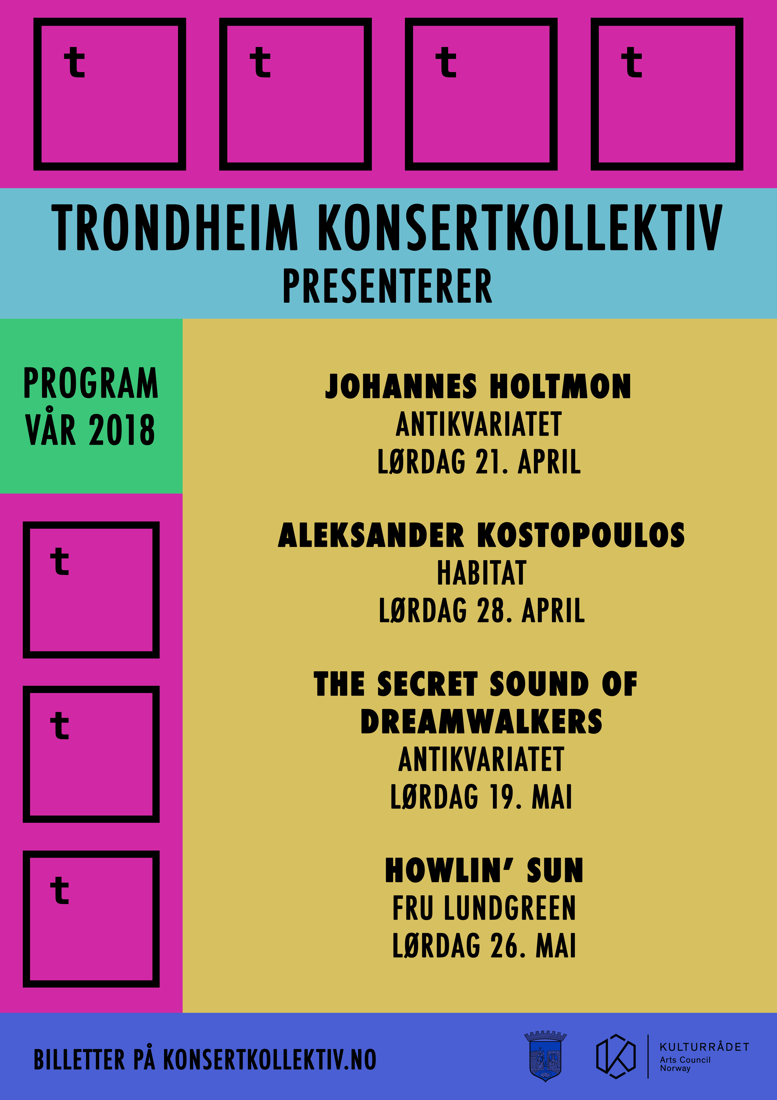 PROGRAMPLAKAT VÅR 2018. DESIGN MARTIN HOPLAND