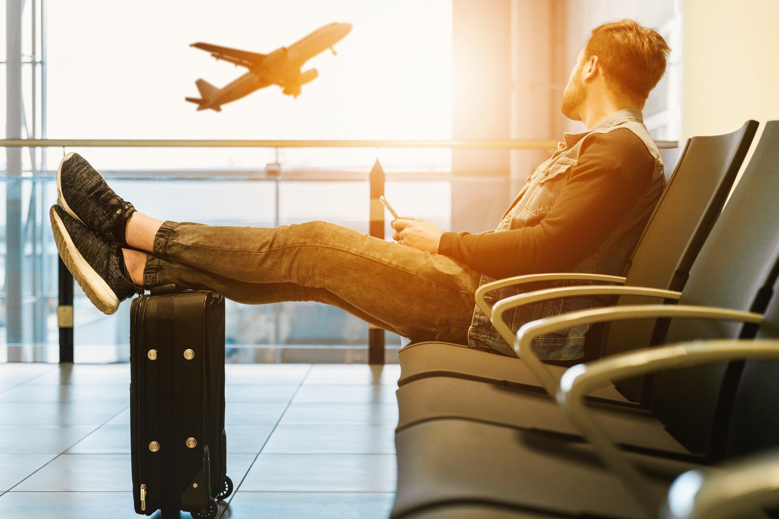 Man, Travel, Plane and Suitcase  JESHOOTS.COM