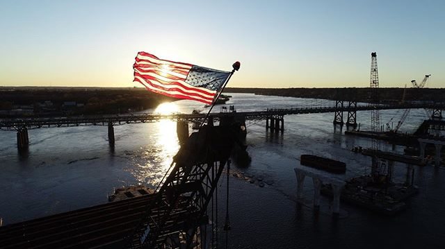 The might Mississippi! #i74 #quadcities #davenport #bettendorf #rockislandillinois #america #merica #flag #bridge #construction #iowa #midwest #drones #aerialphotography #dji #sunset #freelancer #noedit #redwhiteandblue