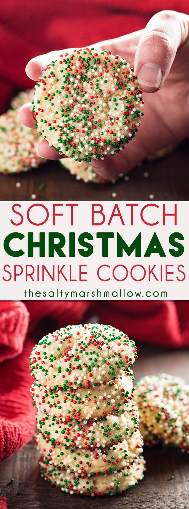 Christmas Sprinkle Cookies - Ingredients1 Stick butter softened1/4 Cup cream cheese softened1 1/2 Cups granulated sugar2 Large eggs1 Teaspoon vanilla extract1 Teaspoon almond extract2 1/2 Cups all purpose flour2 Teaspoons corn starch1 Teaspoon baking soda1/4 Teaspoon salt1 Cup sprinkles nonpareilsInstructionsIn bowl of stand mixer fitted with paddle attachment, or a large bowl using hand mixer, cream together the butter, cream cheese, sugar, eggs, and extracts until light and fluffy. About 5 minutes.Scrape down the sides of the bowl with a spatula. Add the flour, corn starch, baking soda, and salt. Mix together on low/medium speed for one minute, until combined.Refrigerate dough for two hours before baking.When dough is done chilling, preheat oven to 350 degrees. Line two baking sheets with parchment paper, or spray with non-stick cooking spray.Pour the sprinkles into a medium bowl, and roll tablespoon sized balls of dough into the sprinkles.Place the cookies onto prepared baking sheet, spacing 2 inches apart.Bake for 9-12 minutes. These should not turn golden brown, and will still look wet when they come out of the oven.Allow cookies to cool on baking sheet for 3-5 minutes before moving to a wire rack to cool completely.