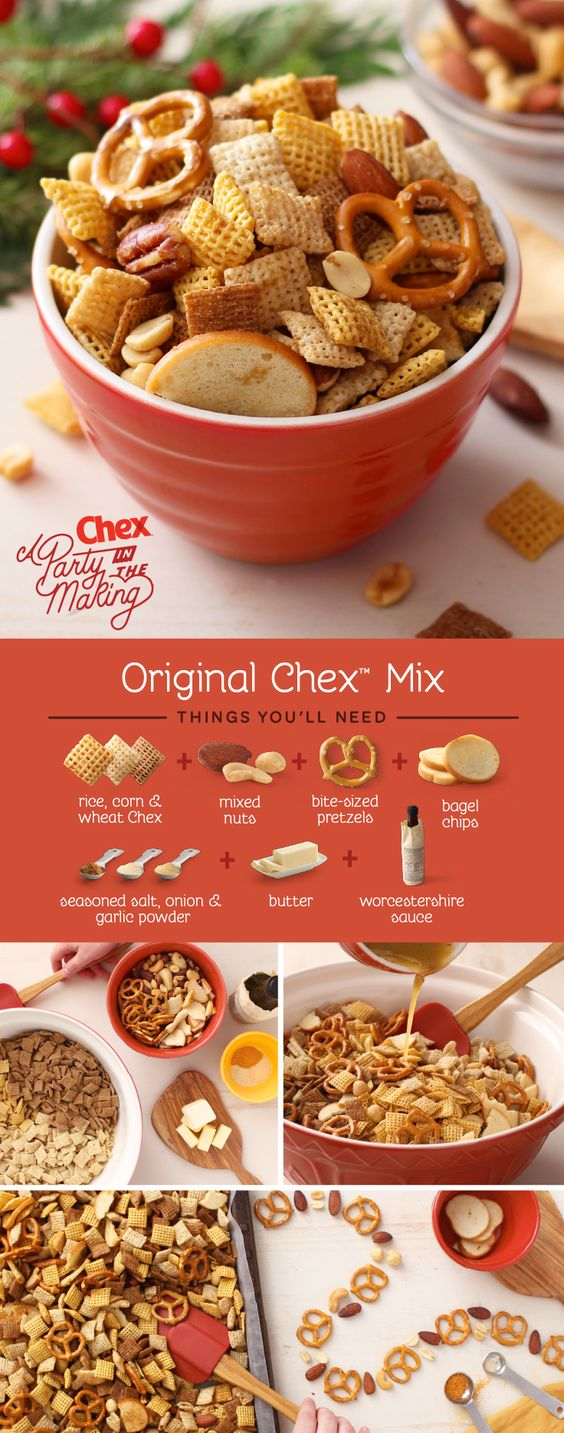 Chex Mix - Ingredients3 cups Corn Chex™ cereal3 cups Rice Chex™ cereal3 cups Wheat Chex™ cereal1 cup mixed nuts1 cup bite-size pretzels1 cup garlic-flavor bite-size bagel chips or regular-size bagel chips, broken into 1-inch pieces6 tablespoons butter or margarine2 tablespoons Worcestershire sauce1 1/2 teaspoons seasoned salt3/4 teaspoon garlic powder1/2 teaspoon onion powderPreparationIn large microwavable bowl, mix cereals, nuts, pretzels and bagel chips; set aside. In small microwavable bowl, microwave butter uncovered on High about 40 seconds or until melted. Stir in seasonings. Pour over cereal mixture; stir until evenly coated.Microwave uncovered on High 5 to 6 minutes, thoroughly stirring every 2 minutes. Spread on paper towels to cool. Store in airtight container.