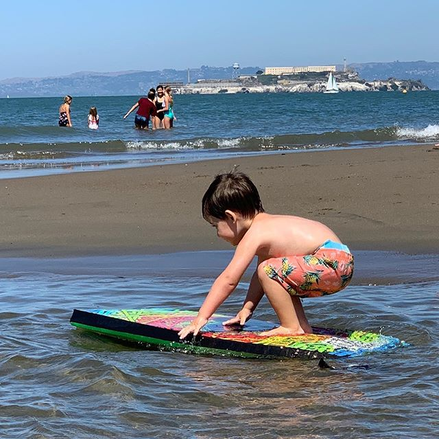I'm always impressed at how this kid picks up new sports. Today he saw some big kids skim boarding and proceeded to drag the boogie board over to the water and try it until he succeeded. I now have a 2-year-old who can skim board. 🌊 🏄