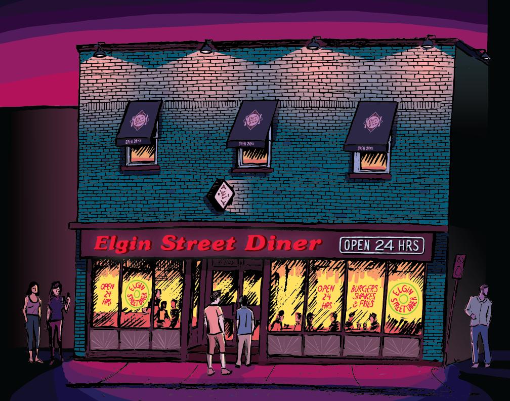 Elgin St Dinner (2018), une oeuvre d'encre sur papier avec couleur numérique réalisée par l'artiste Colin White.