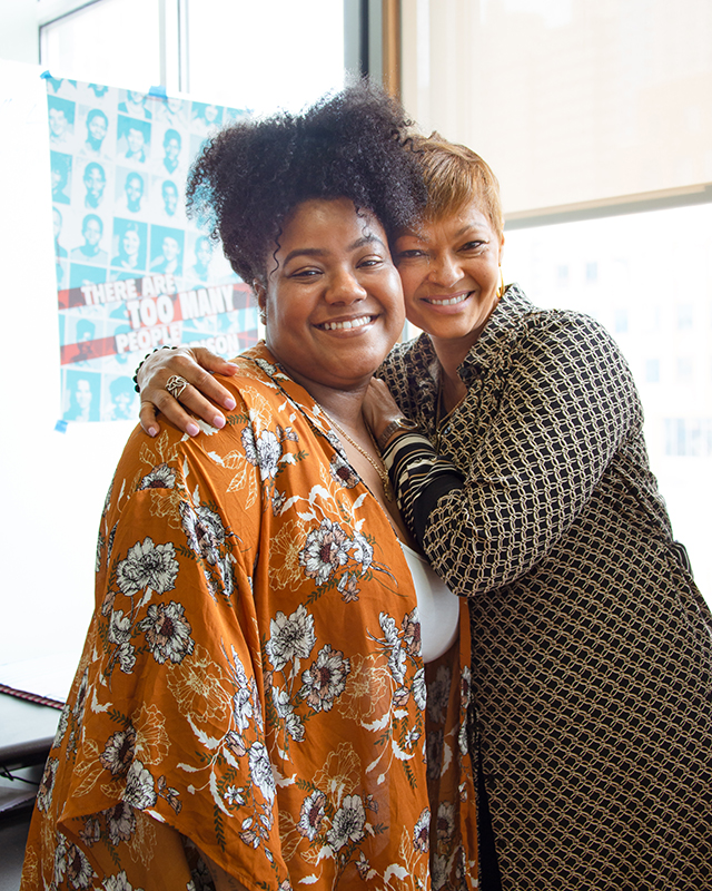 Donna Hylton (right) with Yan Snead (left), Manager of Communications and Digital Strategy, at the Katal Center for Health, Equity, and Justice.