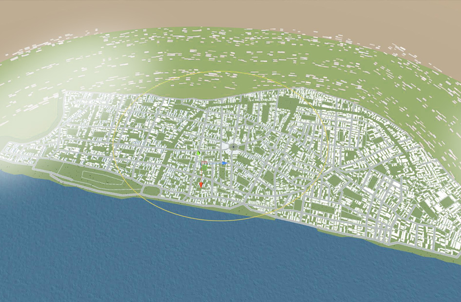 "3D reconstruction of ""idealised"" Tel Aviv, Ideal Spaces Working Group,   (vrbn.io)"