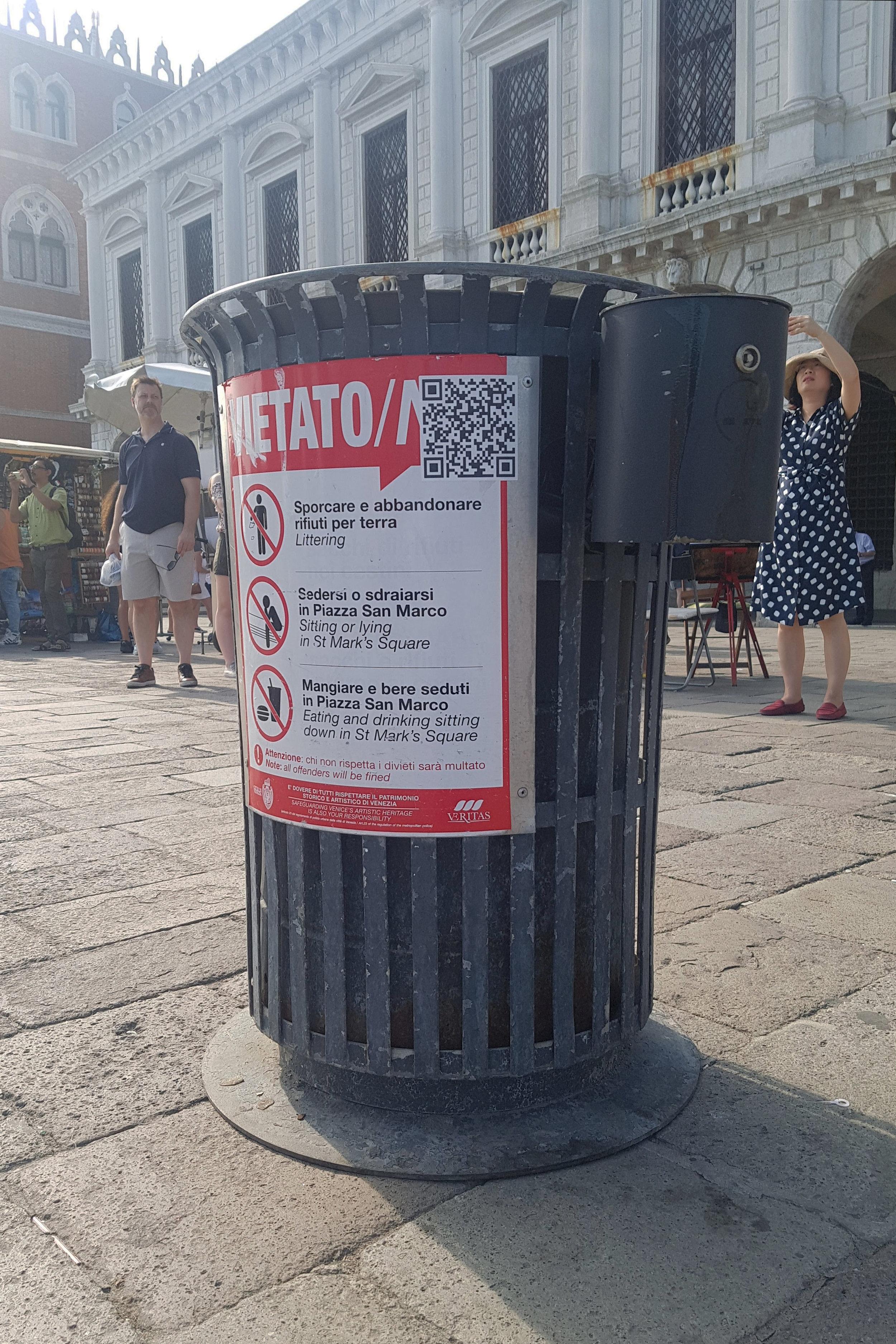 Bin with QR code in Venice