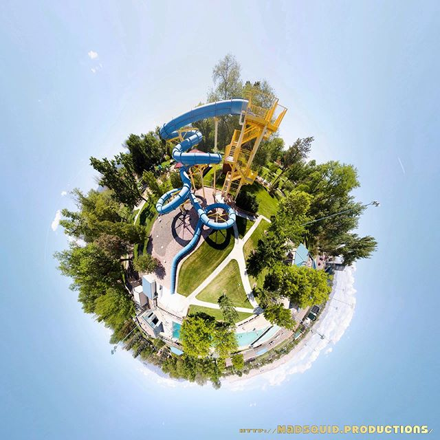 The weather is already swimming weather! Here's a view of the #waterslide at #LincolnPark in #grandjunction #colorado in #tinyplanet format. Aloha!