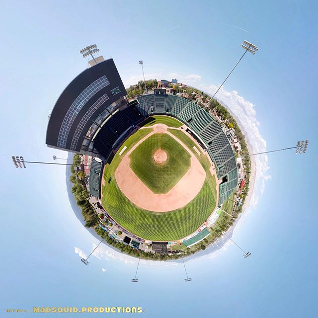 What's up, #JUCOWS fans? Are you ready for the #WorldSeries in #GrandJunction #Colorado? I bet you've never seen #SuplizioField like this before! This is a 360-degree panoramic photo taken from the air by #drone in the #stadium that is home to the @gjrockies and annual host of @jucows! #JUCO #gjrockies