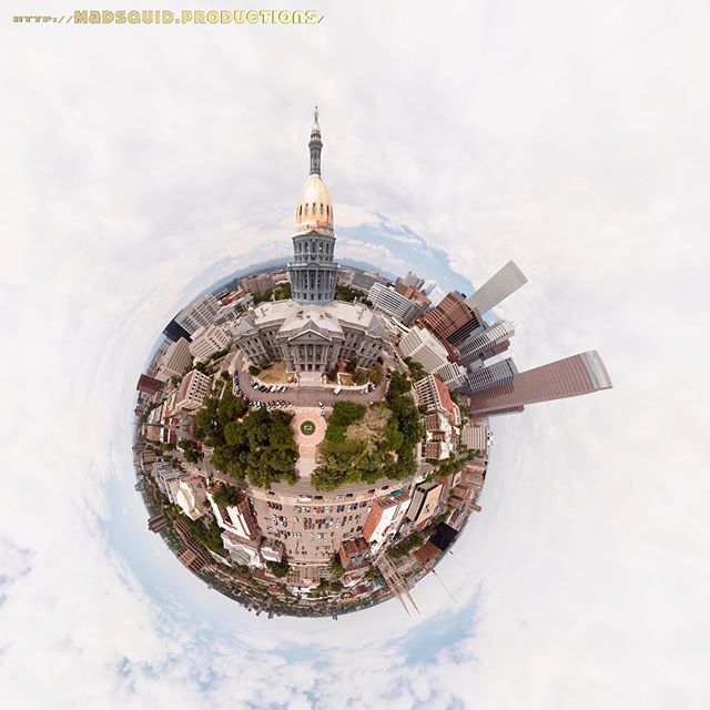 #CapitolHill #Denver #Colorado These two images are both created from the same stitched,  50-image #aeriereal #panoramic photo taken by #drone. #MavicAir One is displayed as a #tinyplanet while the other is displayed as a #rabbithole