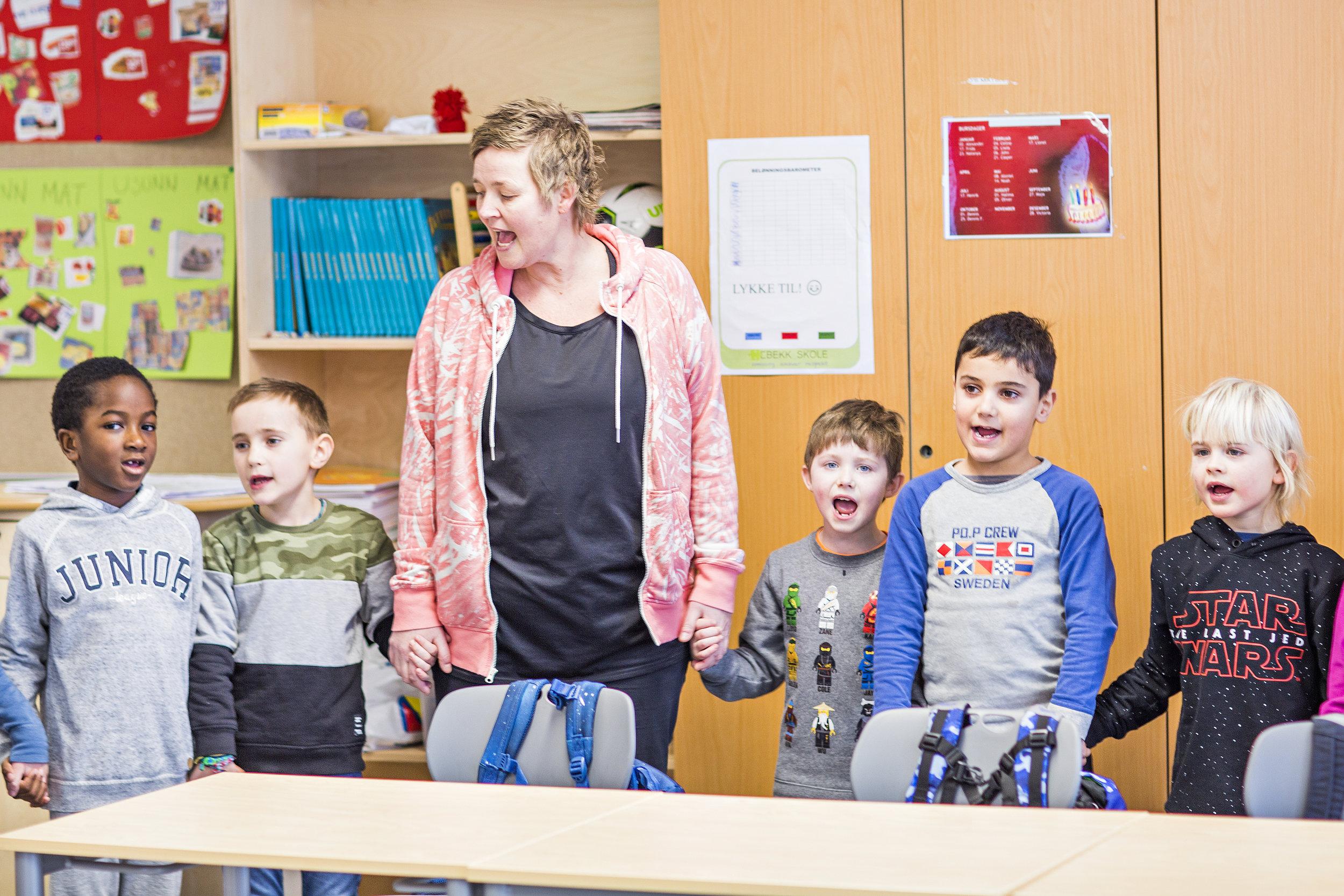 Et lite avbrekk med sang på Hebekk skole - Foto: Iris Skadal/ Krafttak for sang