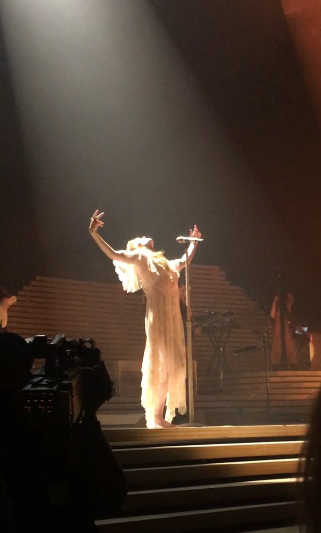 "Florence Welch's pose right before singing the line, ""Too fast for freedom"" (I still get misty when I look at this pic. For real…Like right now..)"