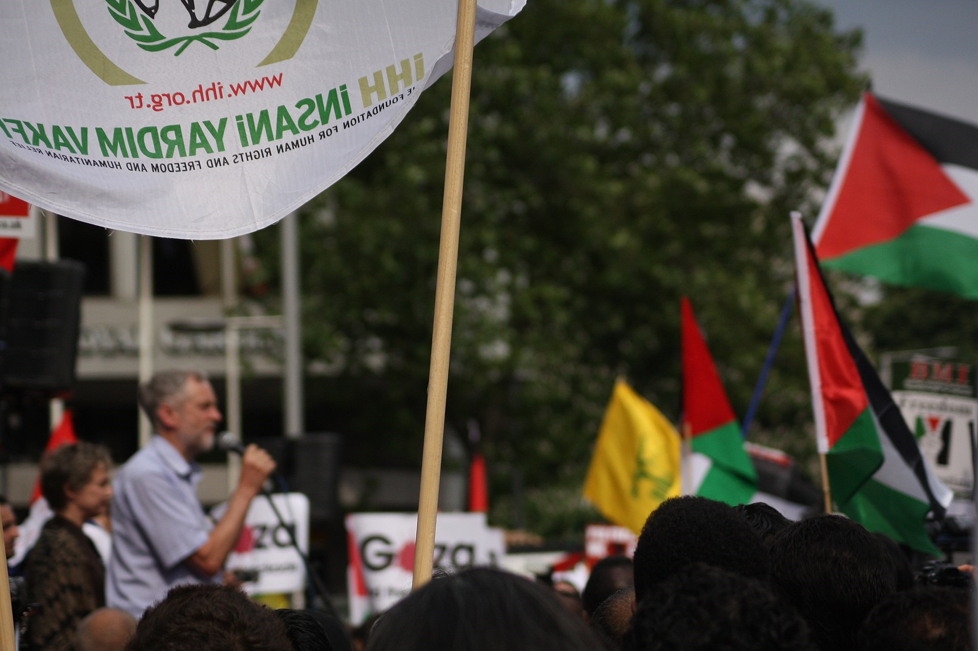 Jeremy Corbyn addressing a Rage Against Israel demonstration in London
