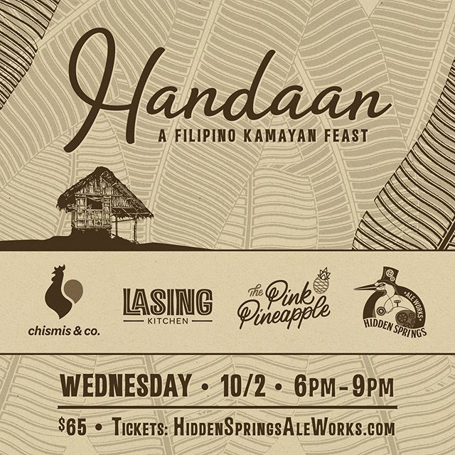 "It's that time again. We baaaaaaack! Another Kamayan coming at ya titled ""Handaan"" our eat with your hands Dinner Party with our homies @thepinkpineappletampa & @hiddenspringsaleworks. Hit the link in our bio to grab these hot tickets!"