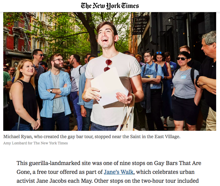 Gay Bars That Are Gone was featured by  The New York Times  on June 21, 2018.