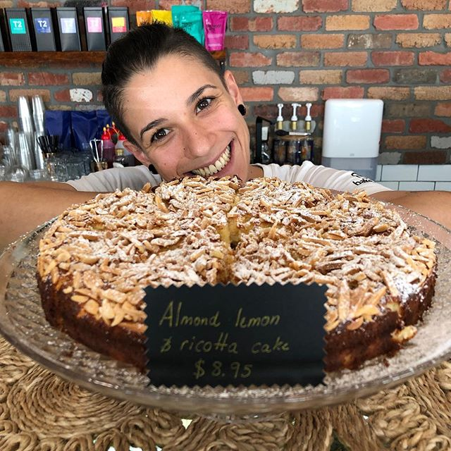 🖤Almond, Lemon and Ricotta Cake🖤 Served with a smile 😇 - - - - - #love #instadaily #food #picoftheday #instagood #amazing #photooftheday #yum #foodporn #delish #delicious #foodpic #eat #hungry #drink #coffee #cafe #instacoffee #cafelife #coffeeoftheday #coffeelover #coffeeholic #coffeelove  #coffeeholic #coffeelife #dessert #dessertporn #coomera #turkishfood #bakery