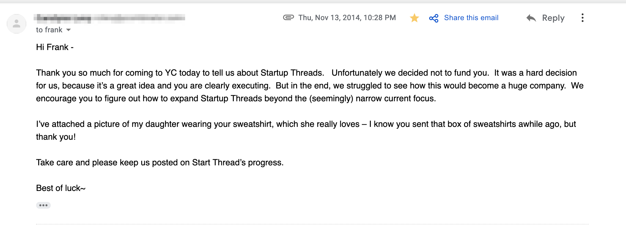My YC rejection was actually a testimonial, given the right perspective.