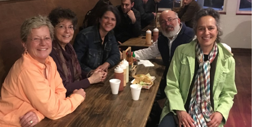 Oscar's Fish Tacos in San Diego :  (l-r) Lise Alschuler, Marsha Pengruber, Tina Kaczor, (some guy at the next table), Jacob Schor, and Amy Rothenberg