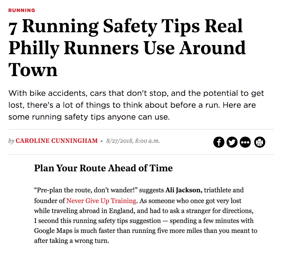 """Owner, Ali Cook Jackson was featured in Be Well Philly's article: """"7 Running Safety Tips Real Philly Runners Use Around Town."""" Read the full article here; https://bit.ly/2P7b2l5"""