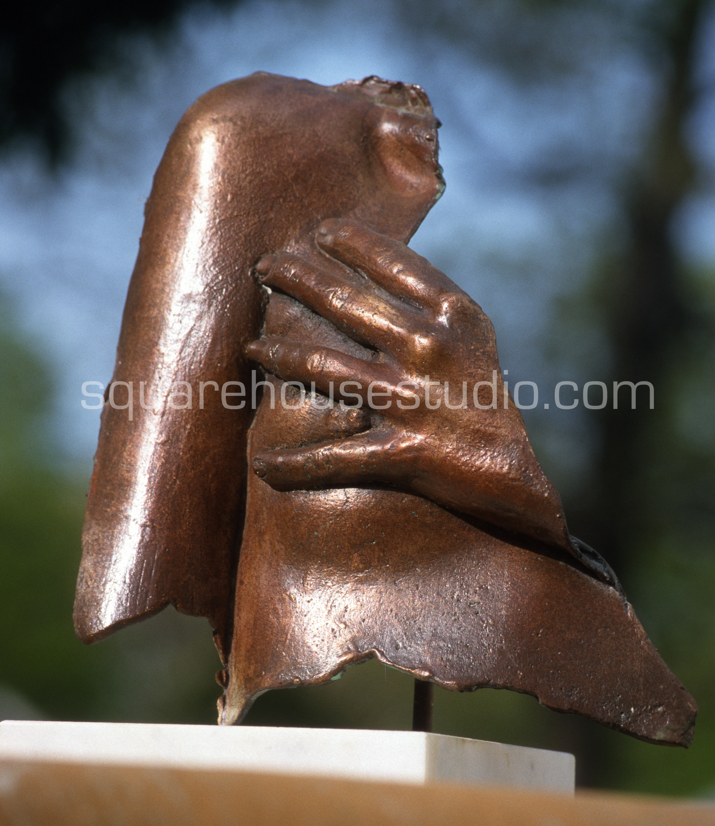 "The Pledge , Bronze casting, 12"" x 12,"" $800"