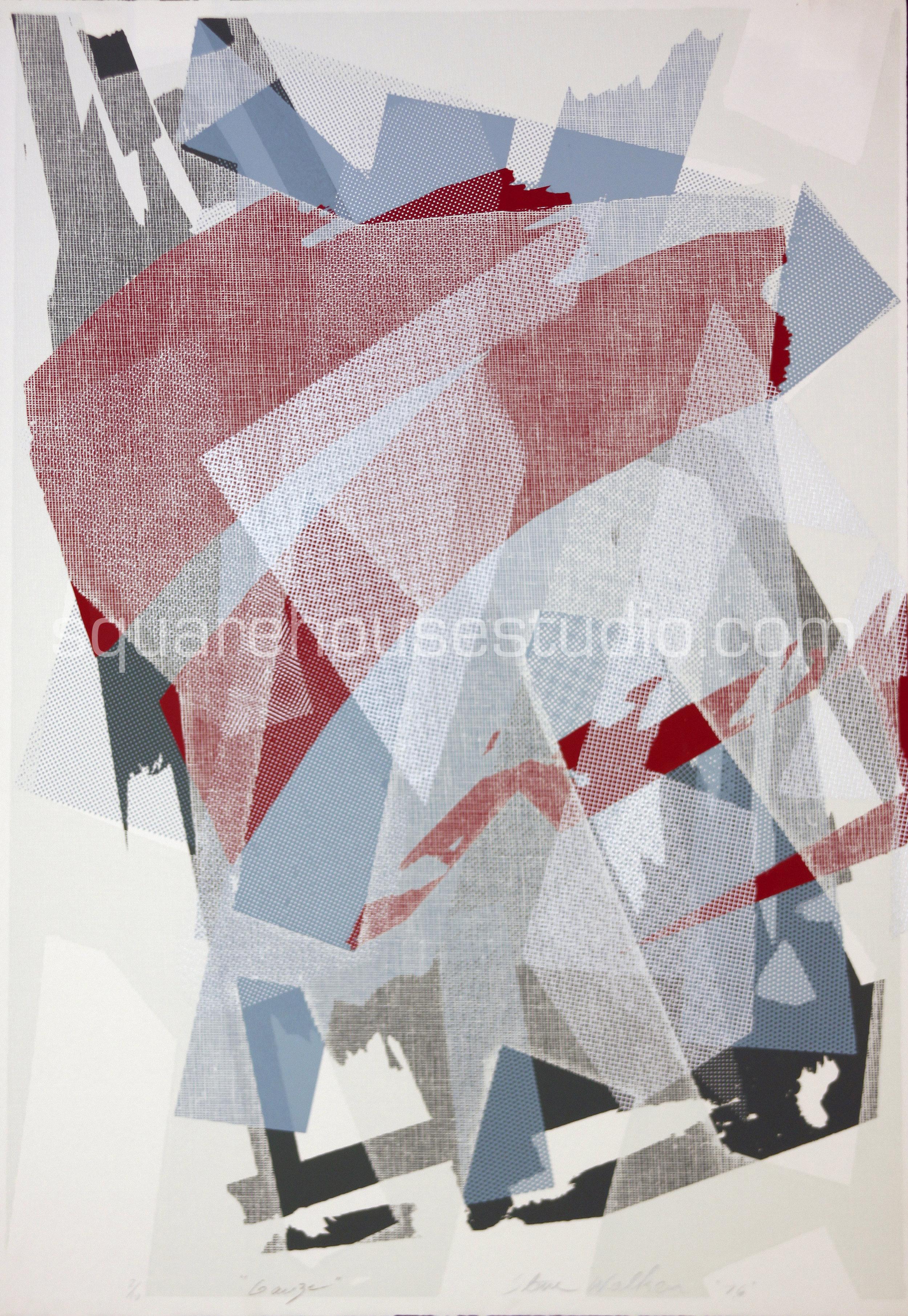 "Gauze , 22"" x 32,"" original edition, $625 framed / $475 unframed, Available as giclée print—$450 framed / $300 unframed"